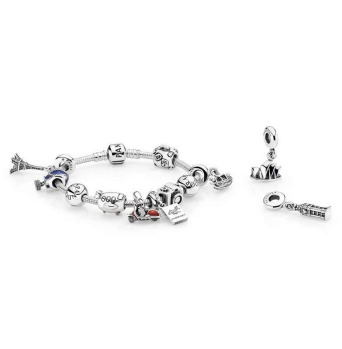 Sterling silver travel icon charms and bracelet by Pandora, charms from $45, pandora.net.