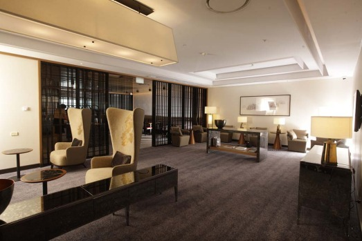 Singapore Airlines' new lounge at Sydney Airport. The lounge includes personal spaces such as a living room, kitchen and ...