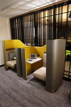 Productivity pods allowing guests to work in privacy.