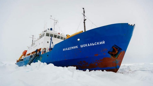 The Akademik Shokalskiy, trapped in the ice.