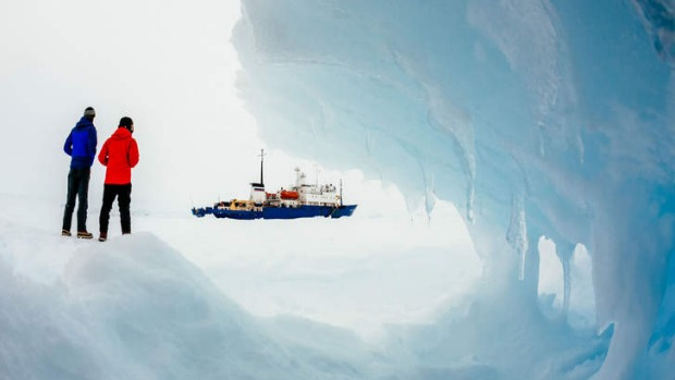 The Akademik Shokalskiy sits stuck in Antarctic ice.