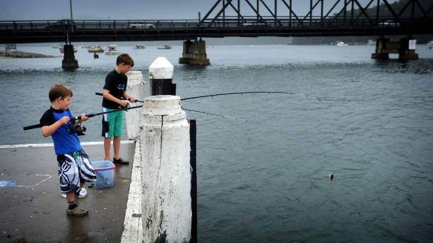James and Jack Whittles fish off a wharf in Batemans Bay.