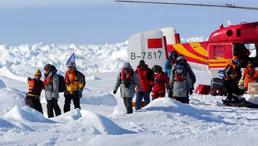The first load of passengers rescued from the ship Akademik Shokalskiy in Antarctica are delivered by Chinese helicopter ...