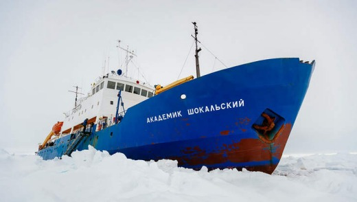 The Akademik Shokalskiy is trapped in the Antarctic.