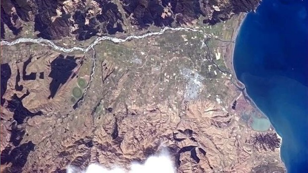Beautiful ... the shot of Blenheim in New Zealand from space tweeted by astronaut Chris Hadfield.