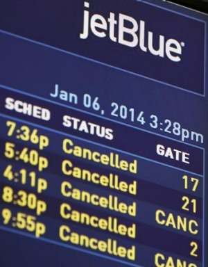 Cancelled: All JetBlue flights have been affected.