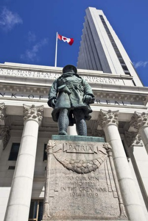 A statue of a World War I soldier at the Bank of Montreal.