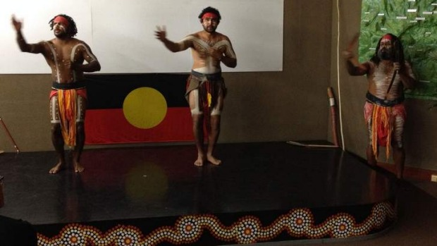 Golden: Yugambeh performers show their art.