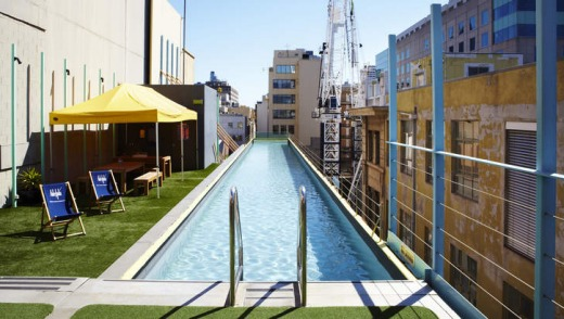 Iconic ... the Adelphi's 25-metre glass-bottomed lap pool that juts out over Flinders Lane.