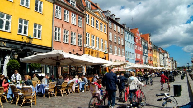 Pedal perfection: Copenhagen is a city of 'green copper spires and bicycles'.