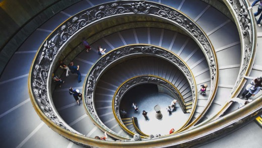The spiral staircase at the Vatican.