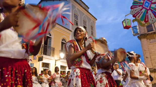 All together now: A Brazilian carnival procession moves with the samba beat.