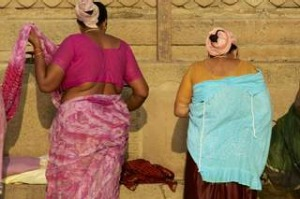 Living traditions: Women wear Varanasi silks.