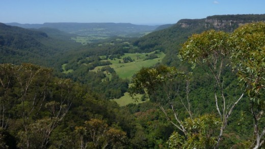Looking toward Kangaroo Valley from Hindmarsh Lookout at Belmore Falls