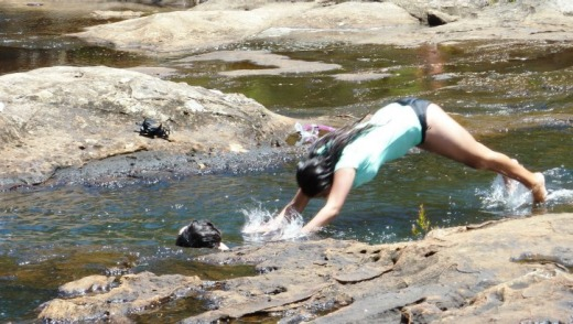 Cooling off in the rockpools atop Carrington Falls