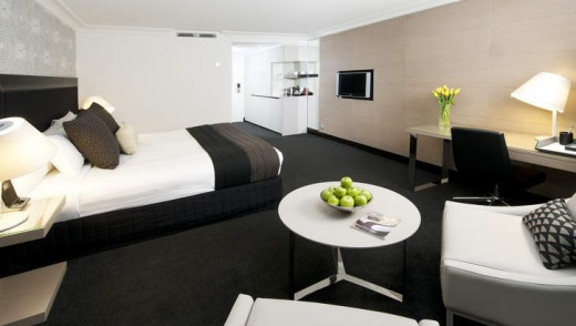 A guest room at the renovated Pullman Brisbane.