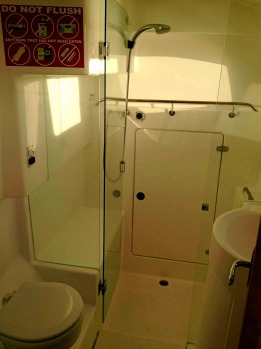 The bathroom inside the catamaran.