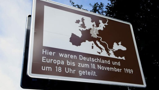 Signage at Glienicke bridge.
