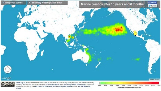 Tracking of what happens to rubbish, such as plastics, tossed or washed into the seas suggests a drifting boat from ...