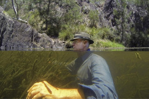 John Reid waits patiently in the Deua River to catch a glimpse of the Fishman he photographed in this spot 25 years ago.