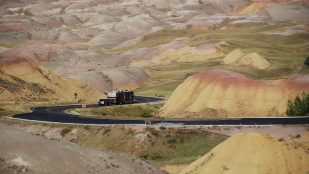 The road loops around Yellow Mounds.