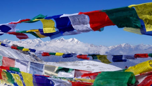 Flags on the Annapurna circuit, Nepal.