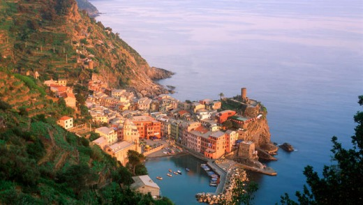 The village of Vernazza at Cinque Terre, Italy.
