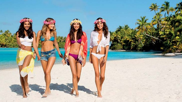 A scene from the Air New Zealand safety video featuring Sports Illustrated swimsuit models.