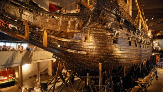 Sweden's ill-fated giant warship, Vasa, sank after it was launched in the 1620s and was raised in 1961.