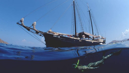Snorkelling off a sailing ship in the Indian Ocean, Flores, Indonesia.