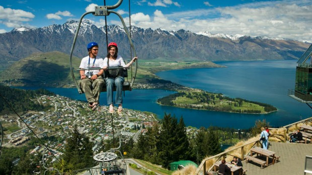A  view of Queenstown  and Lake Wakatipu from Bob's Peak.