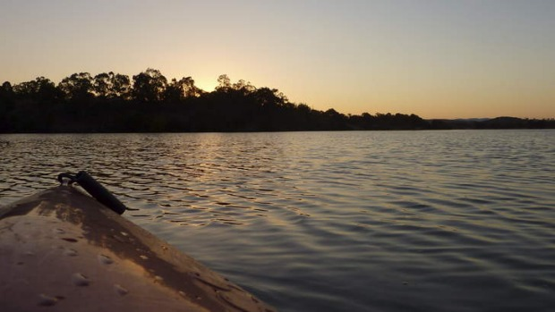 Sunset from my kayak on a secluded bay in Lake Burley Griffin.