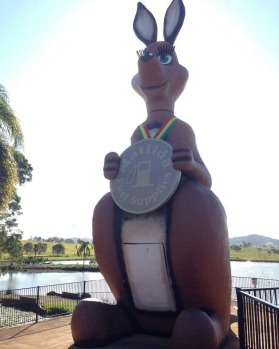 The Commonwealth Games' former ambassador, Matilda the Kangaroo at Kybong. Picture: Tourism and Events Queensland.