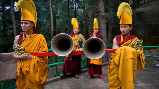 Buddhist monks at the Namgyal Monastery in Dharamsala.
