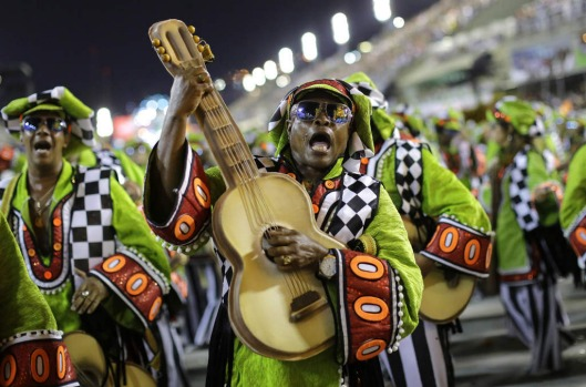 Performers from the Academicos do Grande Rio samba school parade during carnival celebrations at the Sambadrome in Rio ...