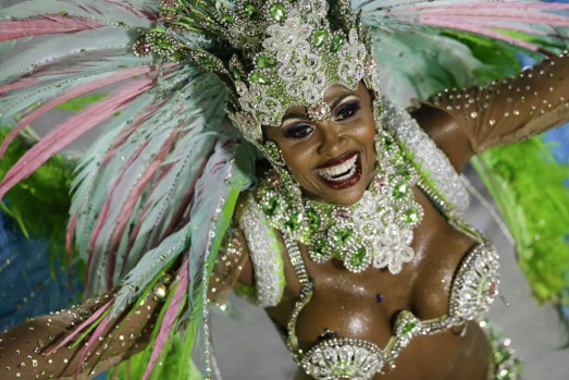 A performer from the Mangueira samba school parades during carnival celebrations at the Sambadrome in Rio de Janeiro.