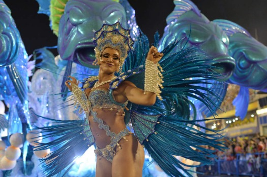 Revellers from the Salgueiro samba school perform during the first night of carnival parade at the Sambadrome in Rio de ...