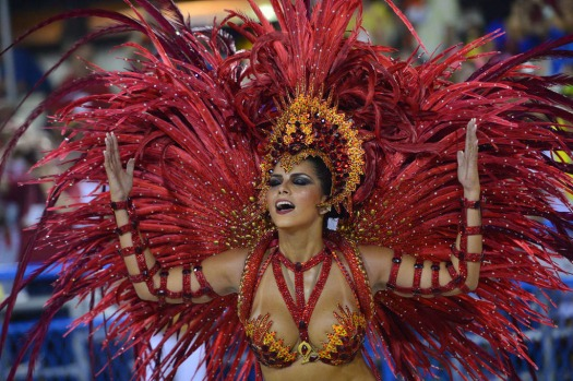 Revellers of the Salgueiro samba school perform during the first night of carnival parade at the Sambadrome in Rio de ...