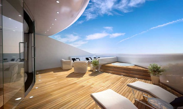 The suite terrace on Sunborn's Gibraltar yacht.