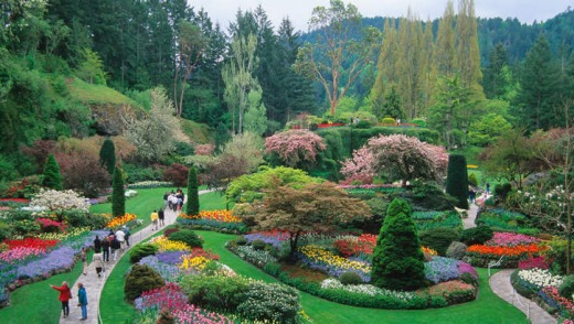 The vista of the sunken garden at Butchart Gardens, Canada.