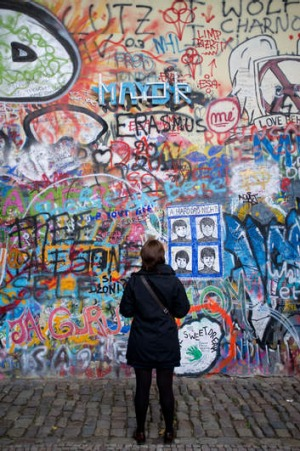 Lennon, not Lenin: In Prague's Mala Strana is this graffiti wall devoted to the memory of John Lennon.