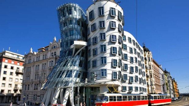 Perspective: The Dancing House, an example of contemporary architecture in Prague.
