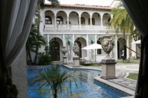 The swimming pool as seen from The Rotunda at Casa Casuarina, the former home of Italian fashion designer Gianni Versace ...