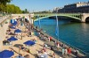 Paris beach at the side of the River Seine Paris.
