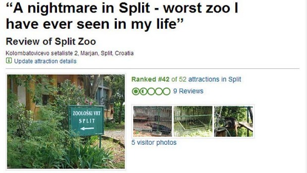 A review posted on TripAdvisor for the zoo in Split, Croatia.