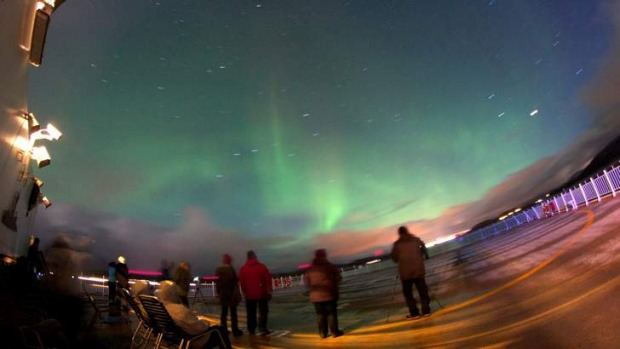 Light-hearted: the Aurora from the deck of the Midnatsol.