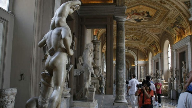 High art: sculptures line the corridor of the Vatican museum.
