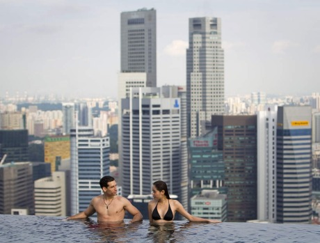 The infinity pool of the Skypark that tops the Marina Bay Sands hotel in Singapore.