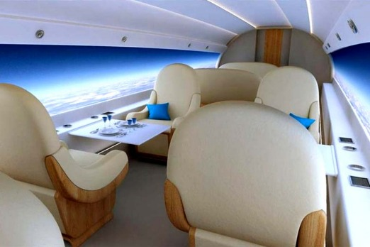 Luxury without a window: The interior design of Spike Aerospace's supersonic jet features electronic display screens.
