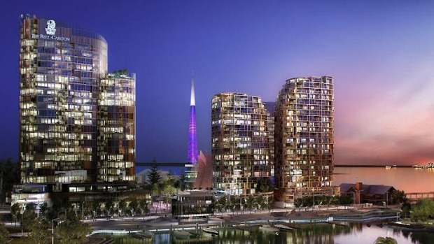 An artist impression of the Ritz-Carlton hotel tipped for Perth's Elizabeth Quay in 2018.